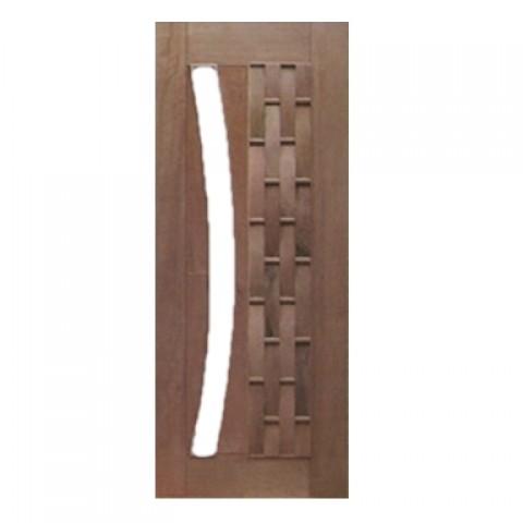 Porta Pivotante Couro Longo para Vidro em Arco Casmavi