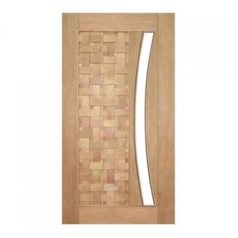 Porta Pivotante Couro Trançado para Vidro em Arco Casmavi